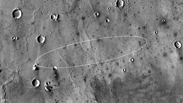 A kijelölt landolási hely a Nasa felvételén