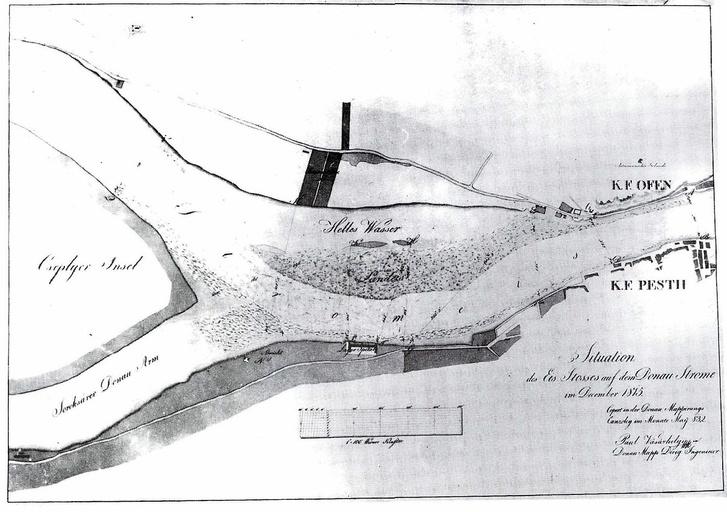 A Duna medre a Csepel-sziget előtt 1815 körül. A folyó hosszú századok alatt a Nyúlfutási-zátonyt és a Kopaszi-zátonyt építette fel a hordalékából, telente ezen a sekélyes folyamrészen könnyen megakadtak a zajló jégtáblák és torlaszt okoztak Készítette: Josef Eklér, Közkincs