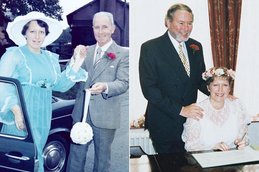 Maria-Louise első és második férjével.