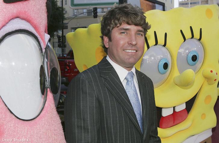 Stephen Hillenburg, a Spongyabob - A mozifilm bemutatóján Los Angeles-ben 2004. november 14-én