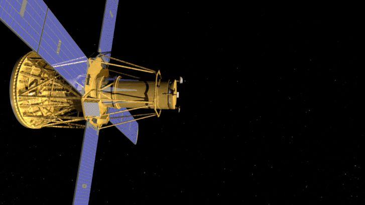 Művészi illusztráció a RHESSI-ről. A Föld sugárzást blokkoló légköre felett repülve a RHESSI a napkitörések röntgen- és gamma-sugarait vizsgálta.