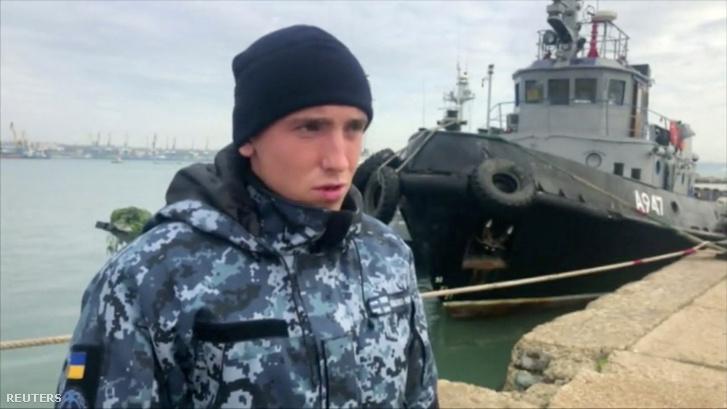 Letartóztatott ukrán tengerész ismeretlen helyen, beszámol a Kerchi-szorosban történt eseményről az Orosz Szövetségi Biztonsági Szolgálat által közreadott felvételen 2018. november 27-én