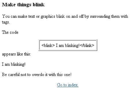 Hogyan blinkelj? A Geocities használati utasítása 1998-ból