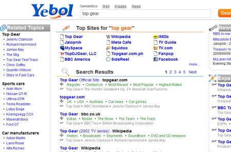 Így keres a Top Gearre a Yebol. Forrás: Cnet