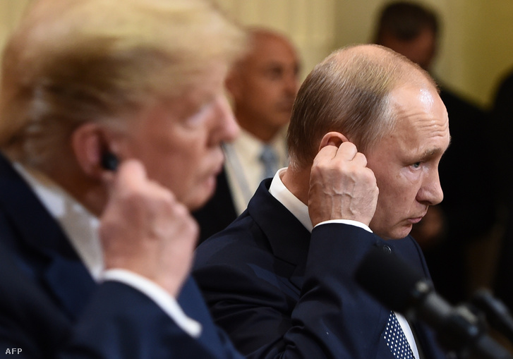 Donald Trump és Vlagyimir Putyin Helsinkiben 2018. július 16-én
