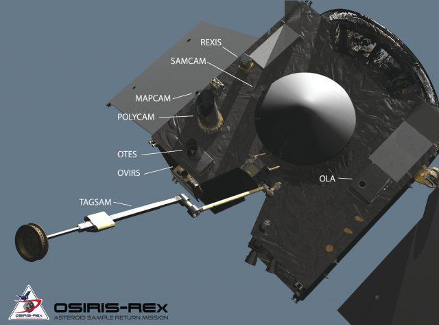 A NASA OSIRIS-REx űrszondája fedélzeti műszerei, köztük a képfelvevő kamerái