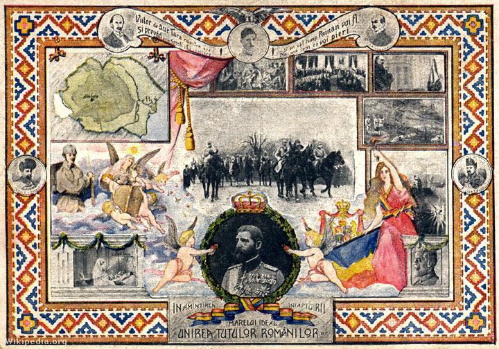 Román képeslap 1918-19-ből Románia térképével
