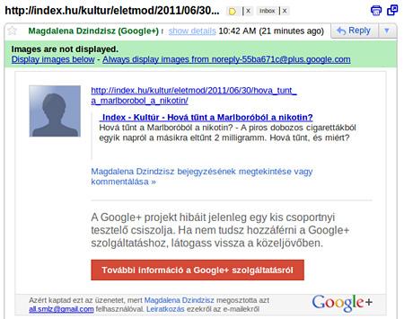 Gmailre érkezik a Google+-ban megosztott cikk