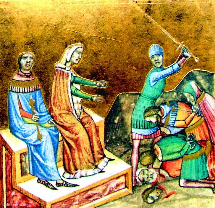 Ilona királyné és II. (Vak) Béla az aradi országgyűlésen a Képes Krónika miniatúráján