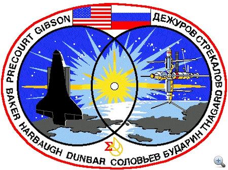 STS-71, Atlantis, 1995. június 27. Az első amerikai űrsiklócsatlakozás az orosz Mir űrállomáshoz.
