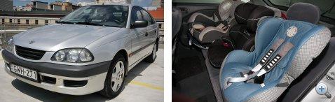 A jó öreg Toyota keskeny, látszik, hogy a túloldalon kinyomódott a helyéről az ülés