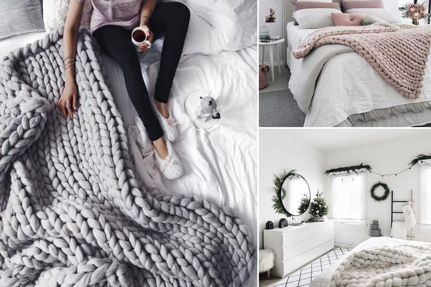 Az óriásfonálból készült takarók hihetetlen melegséget kölcsönöznek a szobának. Ezeket kézzel is viszonylag egyszerű és gyors megkötni, csak megfelelő vastagságú fonalat nehéz hozzá találni, így érdemesebb készen beszerezni őket.