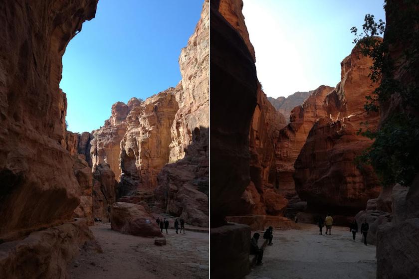 Fényképen viszonylag nehéz visszaadni a monumentális sziklák keltette érzést, azt, hogy az ember milyen picike.