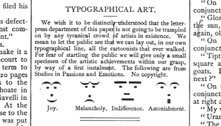 A Puck humorlap szmájlijai 1881-ből.