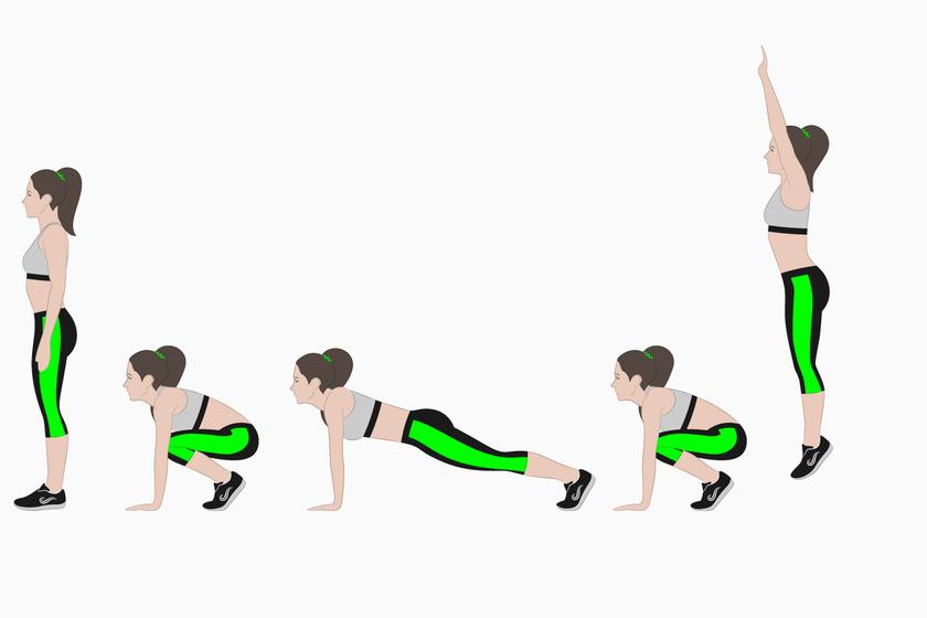 A négyütemű fekvőtámasz a leghatásosabb otthon végezhető kardió gyakorlat. Egyszerre edzi a törzs, a láb és a kar izmait. Állásból ereszkedj guggolásba, tedd le a kezedet, és ugorj hátra plank pozícióba, végezz fekvőtámaszt, majd ugorj előre guggolásba, és utána lendülj a magasba. Ezt ismételd legalább 15-20-szor.