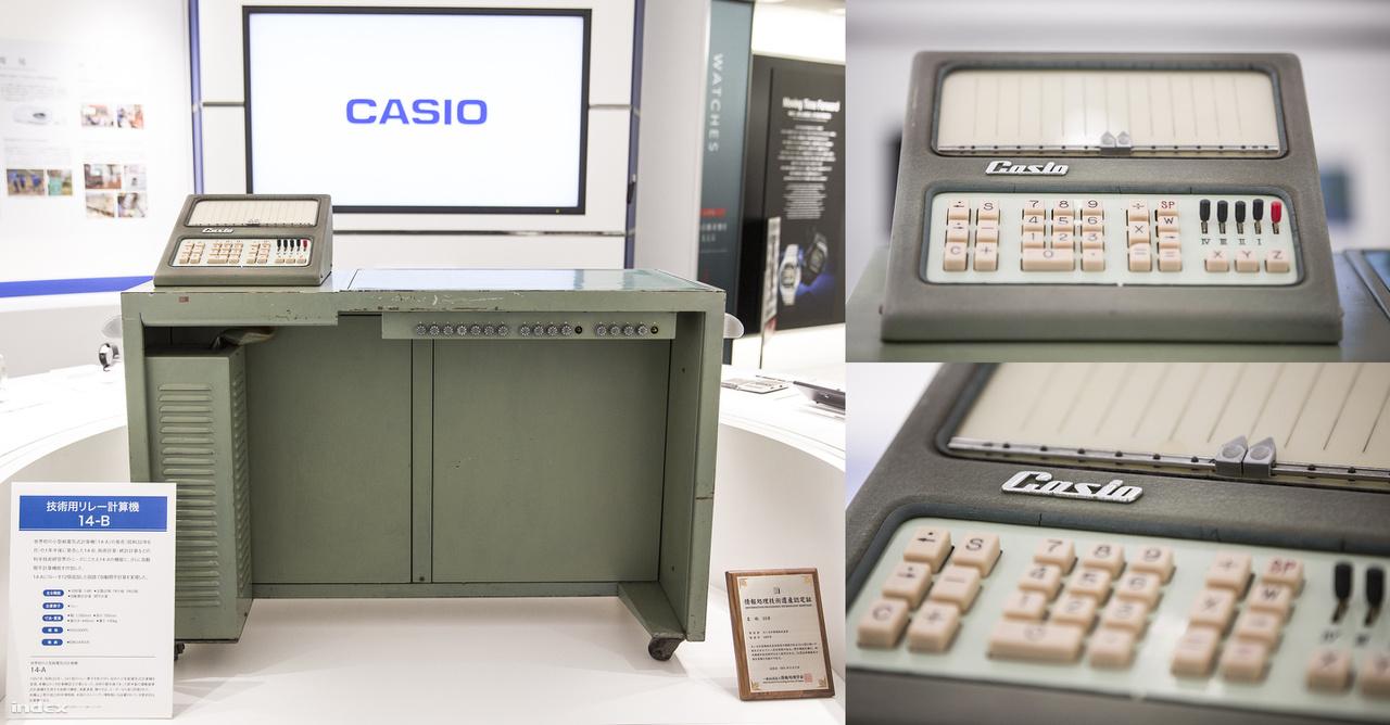 A Casio 14-A számológép egy kiállított példénya a cég tokiói székházában. A 140 kilogrammos íróasztal méretű készülék 485 ezer jenbe került, és több szempontból is világelső volt: elektromágneses relékkel üzemelt, elsőként alkalmazta a háromoszlopos, 0-9-es numerikus billentyűzetkiosztást, kijelzője is egyszerű, letisztult volt. A gépet 1957-ben dobták piacra, ugyanebben az évben megalakult a Casio Computer Co., Ltd. nevű vállalat. (A márkanév kiválasztása, megalkotása is ekkor történt: a testvérek nevének angol átírása, a Kashio helyett az áramvonalasabb, nyugaton jobban csengő, modernséget, gyorsaságot sugalló Casio lett a brand és a cég neve.)