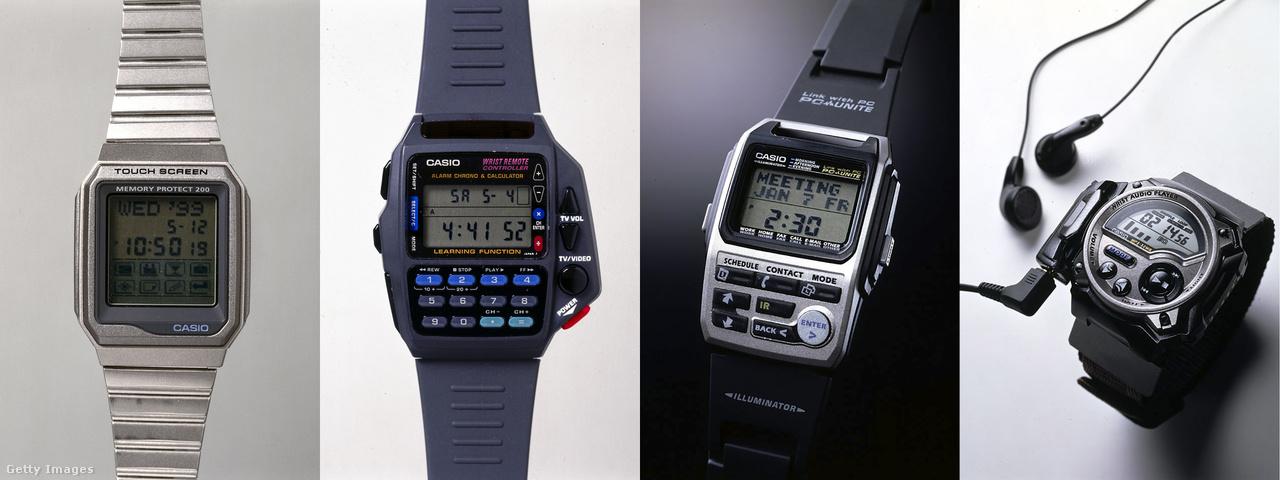 A Casio úgy tűnik mindennél nagyobb örömöt lelt a minél extrémebb, a legtöbb újító ötletet felsorakoztató karórák gyártásában. A cég érintőképernyős, infravörös távirányítós és PC-hez kapcsolódós, valamint MP3 lejátszós órái (a képen balról jobbra) szinte mindig a konkurencia előtt jártak egy orrhoszal.