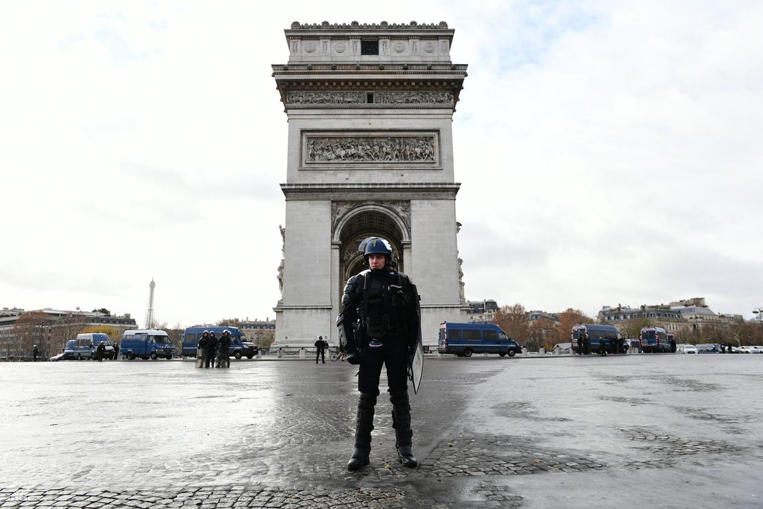 Párizsi Diadalív környéke lezárva 2018. december 8-án
