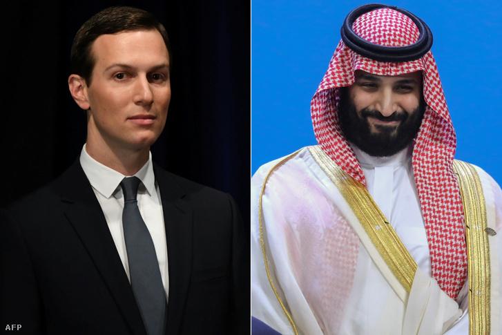 Jared Kushner és Mohamed bin Szalmán.