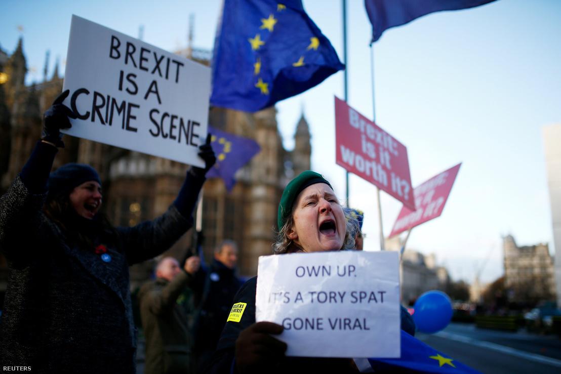 Brexit ellenes tüntetők Londonban a parlament előtti téren 2018. november 19-én