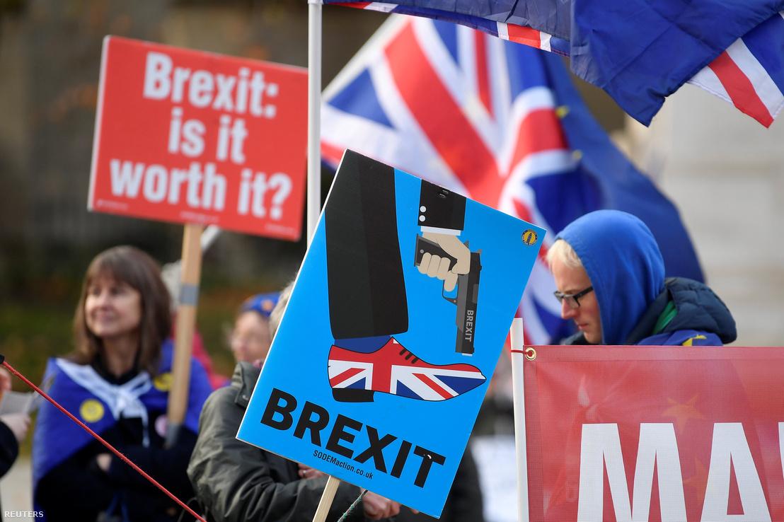 Brexit ellenes tüntetők a kormányzati városrész főutcájában, a Whitehallon 2018. december 6-án