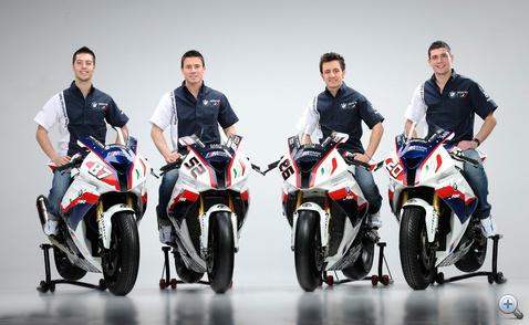 A BMW Motorrad Italia csapata: Lorenzo Zanetti (STK1000), James Toseland (SBK), Ayrton Badovini (SBK), Sylvain Barrier (STK1000)