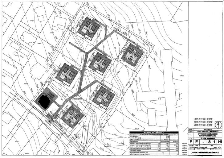 A lakópark tervrajza az engedélyeztetési dokumentáció alapján