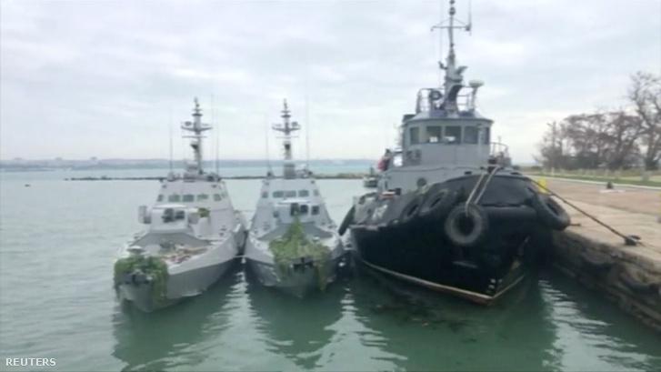 Az Orosz Szövetségi Biztonsági Szolgálat 2018. november 27-én kiadott felvételei a három elfogott ukrán hadihajóról
