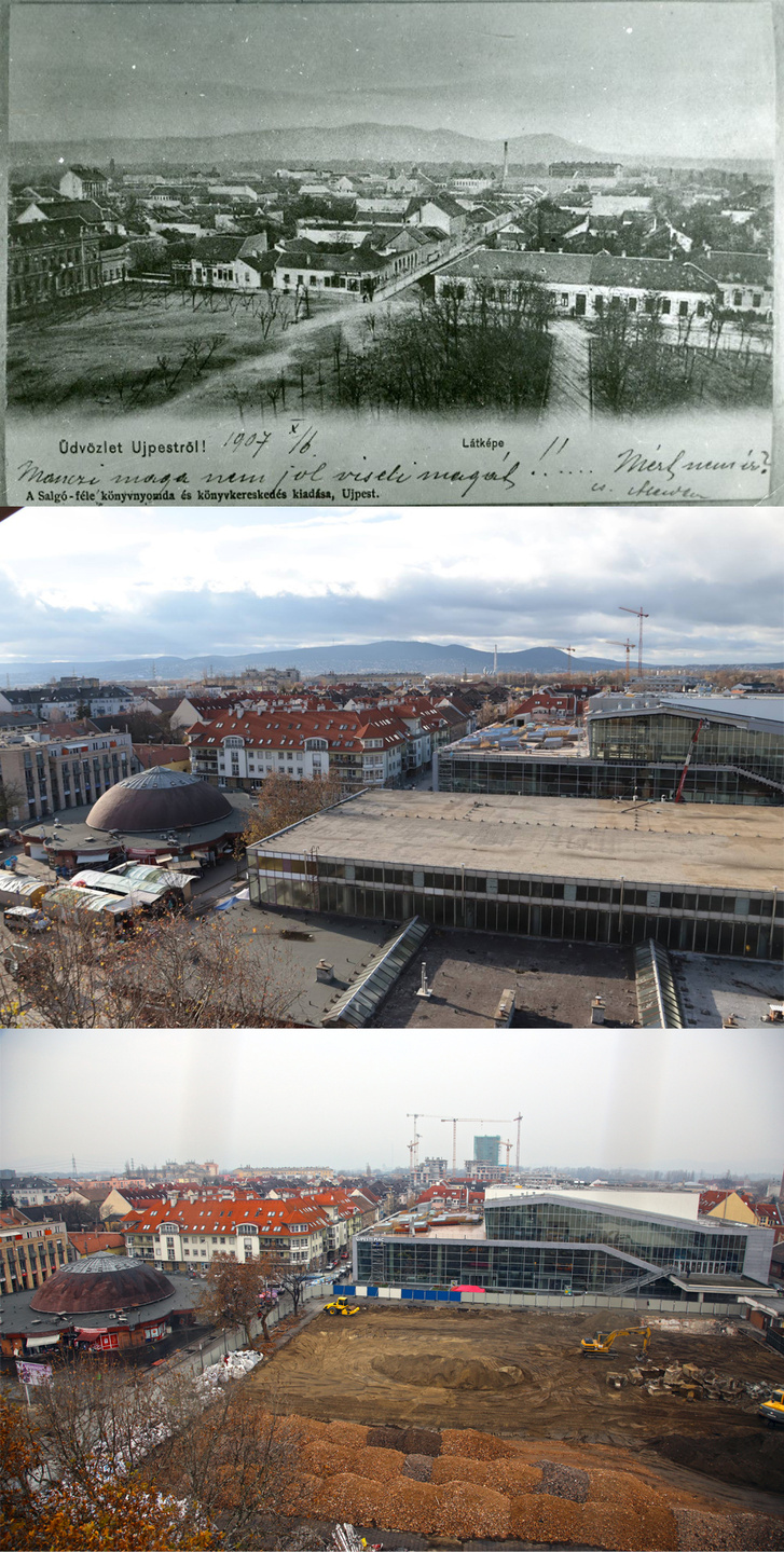 Kilátás az újpesti templom tornyából. A középső fotón még látszik a régi piac és az új vásárcsarnok. A harmadikon a jelenlegi állapot látható
