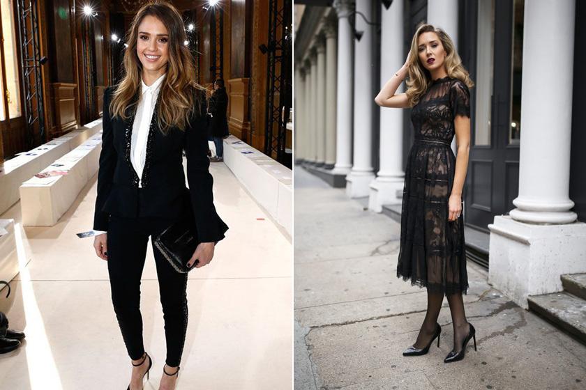 Business formal viselet Jessica Albán és semi-formal koktélruha.