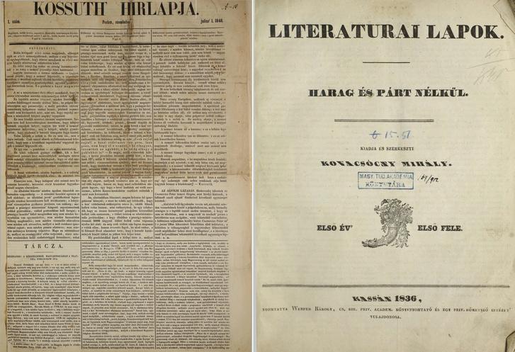 Kossuth Hirlapja, 1848.07.01/1. szám és Literaturai Lapok, 1836 (1. évfolyam, 1-52. szám)