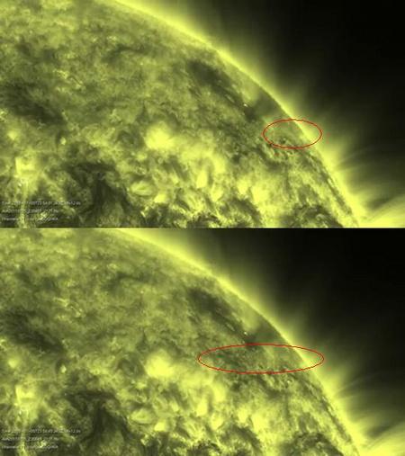 A rendkívül ritka anyagú üstökös elhaladása a napkorong előtt az SDO videofelvételének két képkockáján (a biztos azonosításhoz szükséges a mozgóképen érzékelni a csóvás vándor elmozdulását).