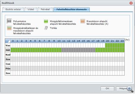 Pillanatok alatt beállítható a felvételek időzítése. Sokkal jobb felület, mint amit a Y-cam nyújt a felhasználónak.