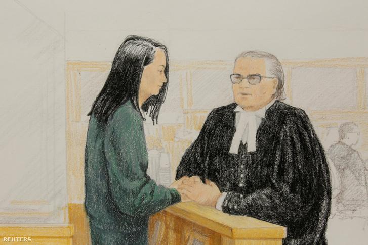 Tárgyalási vázlatrajz Meng Van-csouról, a B. C. Legfelsőbb Bíróságon Vancouver-ben, 2018. december 10-én