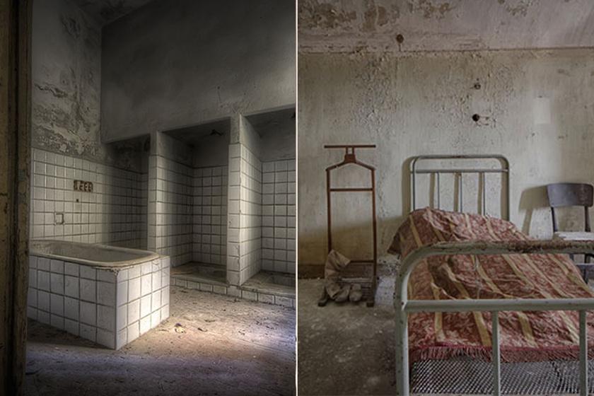 Az intézet fürdőszobája és a páciensek alvóhelye.