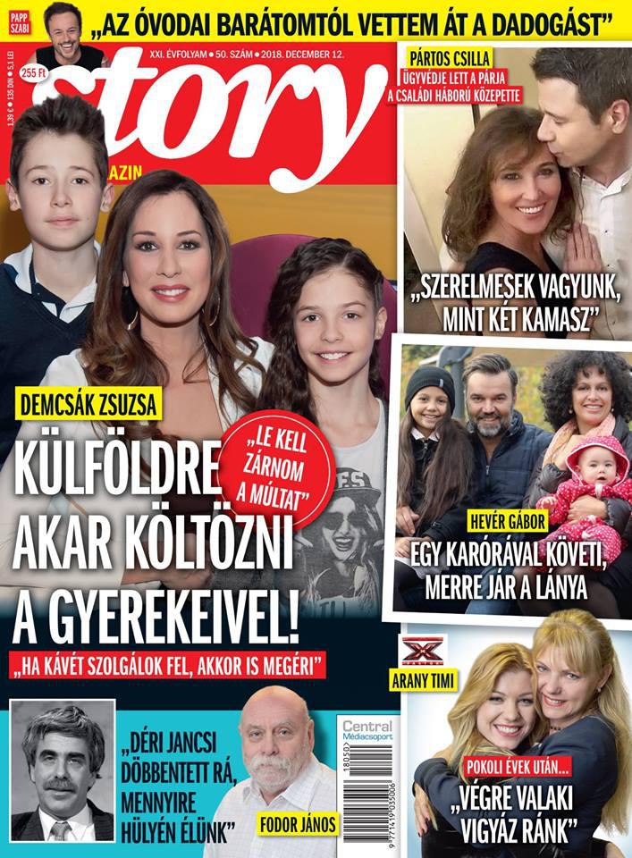 Pártos Csilla és párja a december 2-i Story magazin címlapjának jobb felső sarkában láthatók.