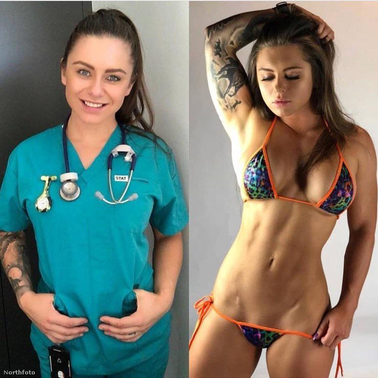 nővérként dolgozik.