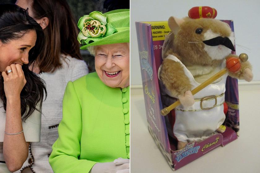 """Meghan tavaly egy éneklő hörcsöggel lepte meg a királynőt. Erzsébet királynő nagyon meglepődött a furcsaságon, nagyot kacagott a bohókás kis plüssállaton. """"Legalább lesz, aki elszórakoztassa a kutyáimat"""" - mondta."""