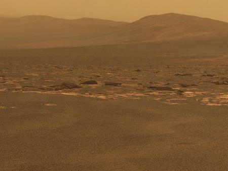 A Mars-járó képe az Endeavour kráterről (Forrás: NASA)