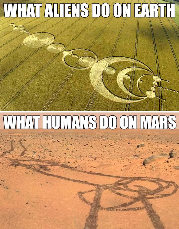 Amit a földönkívüliek csinálnak a Földön vs. amit az emberek csinálnak a Marson.
