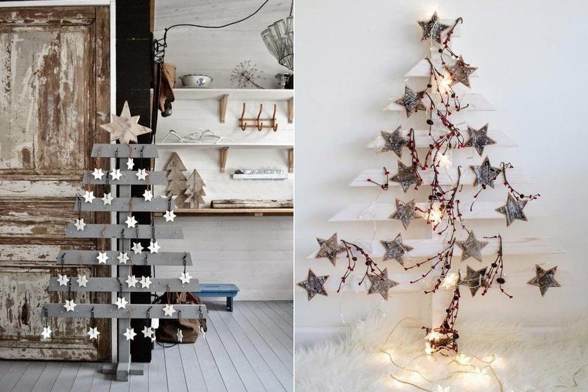 A raklapból kivágott karácsonyfák ízlésesen feldíszítve a lakásban is szemet gyönyörködtetőek.