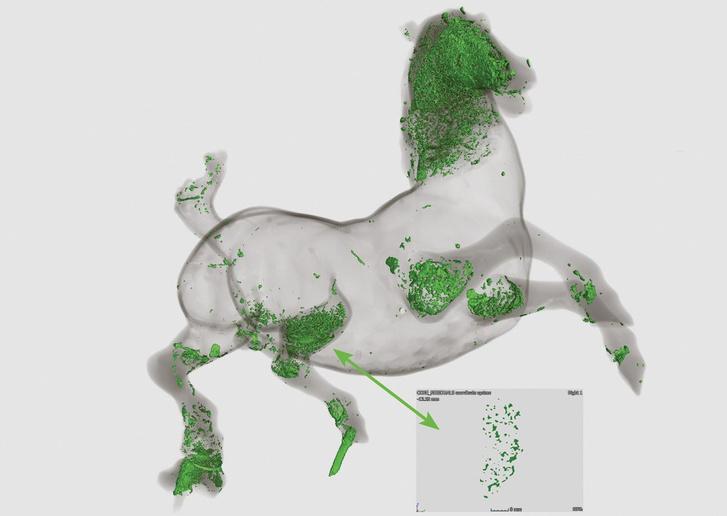 A 3D neutrontomográfiai vizsgálat megmutatta az utólag kikapart agyagos mag anyagmaradványait a szobor belsejében lévő üregben.