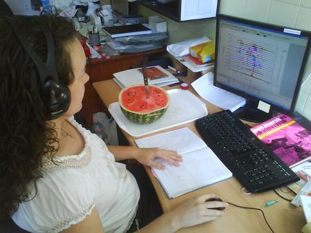 Kecskeméti Gabriella a különböző dinnyék kopogtatása során felvett hangok analízisét végzi