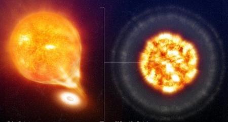 """A Sternberg és munkatársai által vizsgált egyik """"klasszikus"""" Ia-szupernóva, az SN 2006X fantáziaképe a robbanás előtt és után (ESO)."""