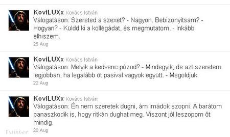 Három random tweet Kovi oldaláról