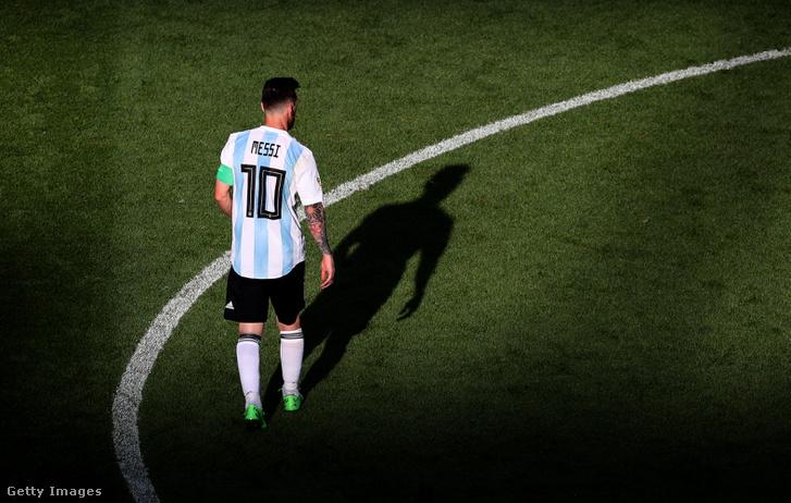 Lionel Messi, a Franciaország és Argentina közötti meccsen Kazanyban, 2018. június 30-án