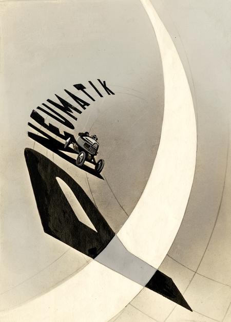Pneumatik, 1924 Ceruza, tinta, festékszóró, tempera fotópapíron, 16 x 12,7 cm