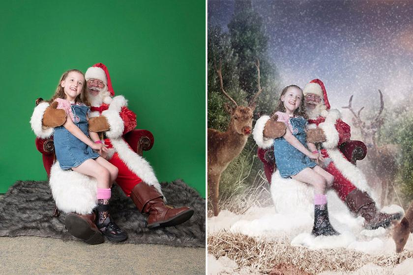 A kicsiket a Télapóval zöld háttér előtt fotózták, később pedig karácsonyi jelenetbe helyezték őket.