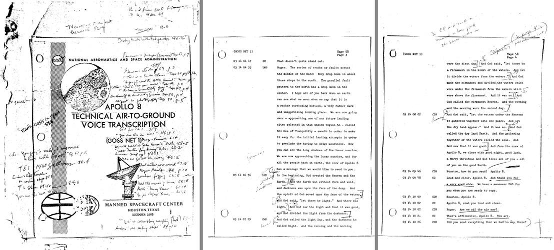 A küldetés során elhangzott rádióüzenetek leirata, benne a Genezis első sorai (a képre kattintva nagyobb méretben olvasható)