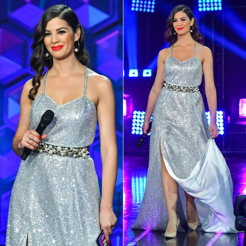 Mint egy bálba érkező, mesebeli hercegnő! A döntőben viselt ezüst estélyit a Silka Fashion tervezője, Kanizsai Ágnes álmodta meg.